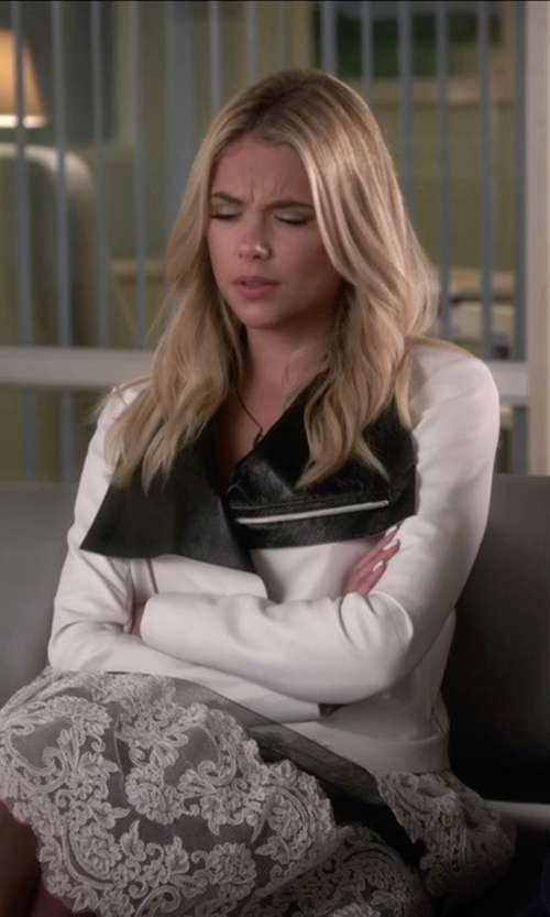 Ashley Benson with Veda 'Max' Two-Tone Leather Jacket in Pretty Little Liars