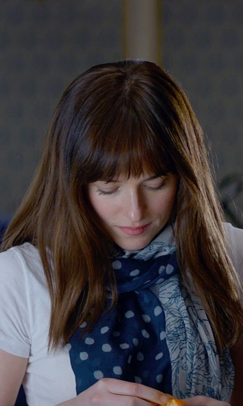 Dakota Johnson with Accessory Necessary Polka Dots Print Scarf in Fifty Shades of Grey
