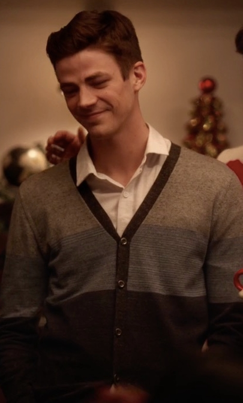 Grant Gustin with Diesel Striped Stretch Cardigan in The Flash