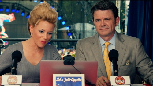 John Michael Higgins with Brooks Brothers Regent Fit Saxxon® Wool Brown Plaid Suit in Pitch Perfect 2