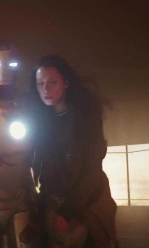 Rebecca Hall with RICK OWENS Naska Biker Jacket in Iron Man 3