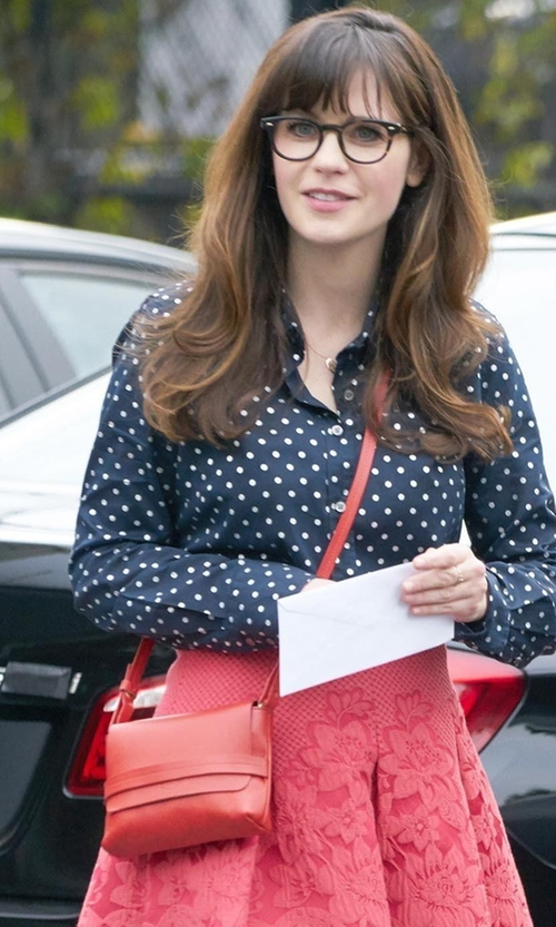 Zooey Deschanel with Neiman Marcus Made In Italy Leather Flap-Top Crossbody Bag in New Girl