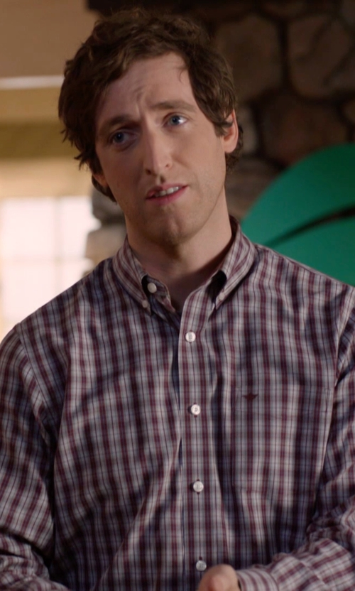 Thomas Middleditch with Neiman Marcus Classic Fit Non-Iron Cotton Sport Shirt in Silicon Valley