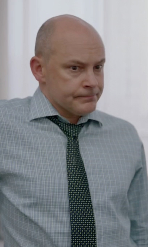 Rob Corddry with Kiton Micro-Check Windowpane Woven Dress Shirt in Ballers