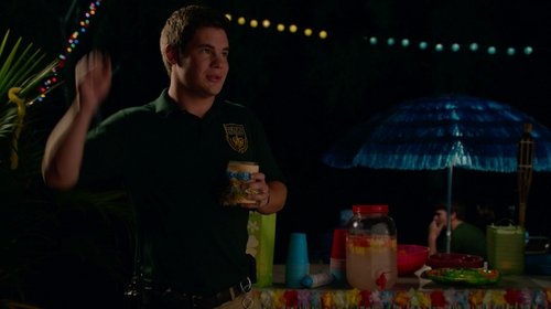 Adam DeVine with Jerzees Modified SpotShield Jersey Knit Sport Shirt in Pitch Perfect 2