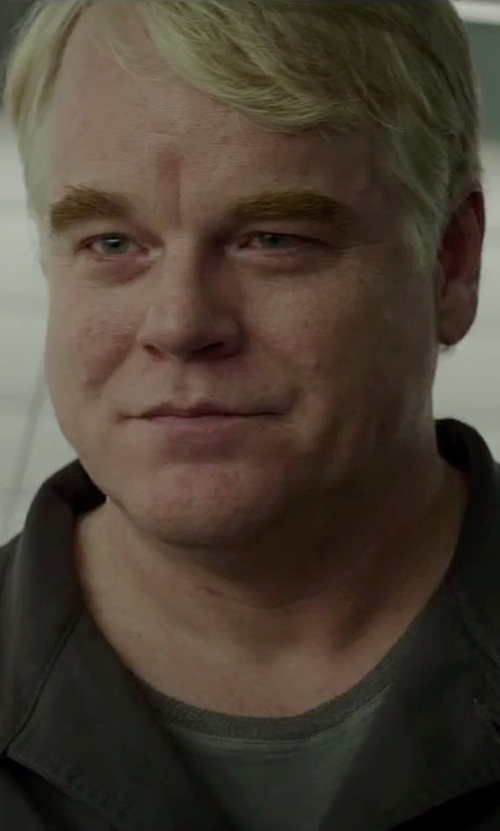 Philip Seymour Hoffman with Land's End Men's Short Sleeve Ringer Super-T in The Hunger Games: Mockingjay - Part 2