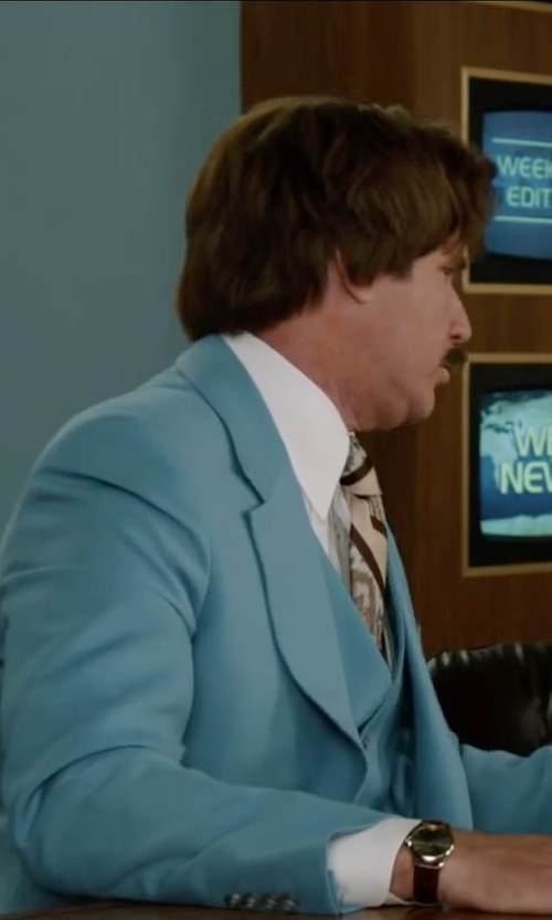 Will Ferrell with Fossil Swiss Round Leather Strap Watch in Anchorman 2: The Legend Continues