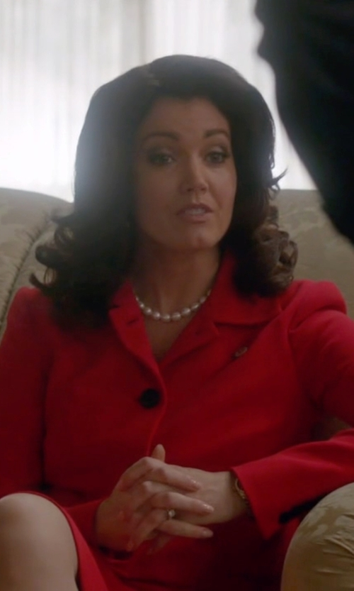 Bellamy Young with Michael Kors Collection Stretch Bouclé-Crepe Cropped Jacket in Scandal