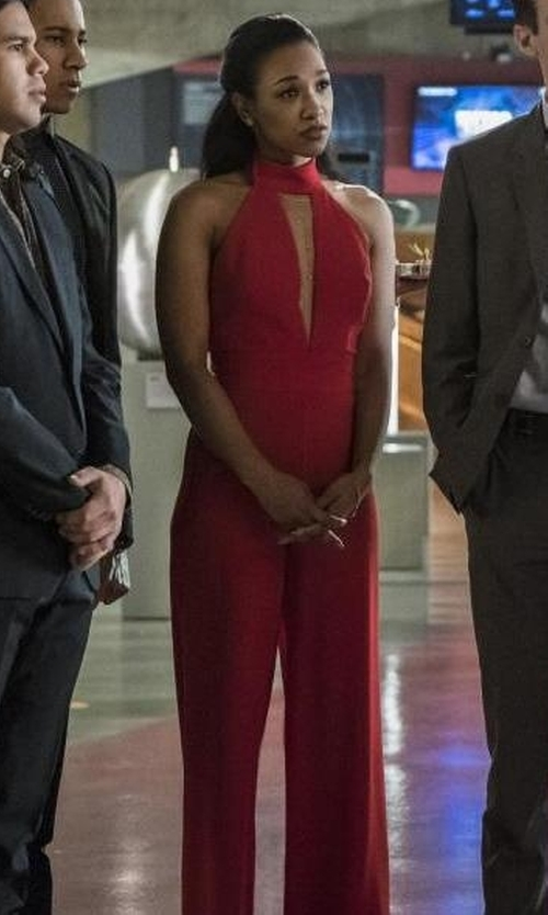 Candice Patton with Bebe Deep Plunge Halter Jumpsuit in The Flash
