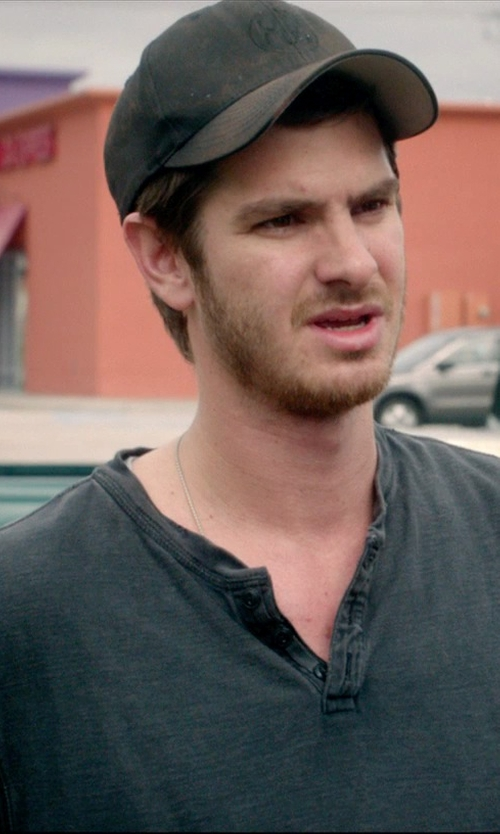 Andrew Garfield with ATM Anthony Thomas Melillo Jersey-Sleeve Henley Shirt in 99 Homes