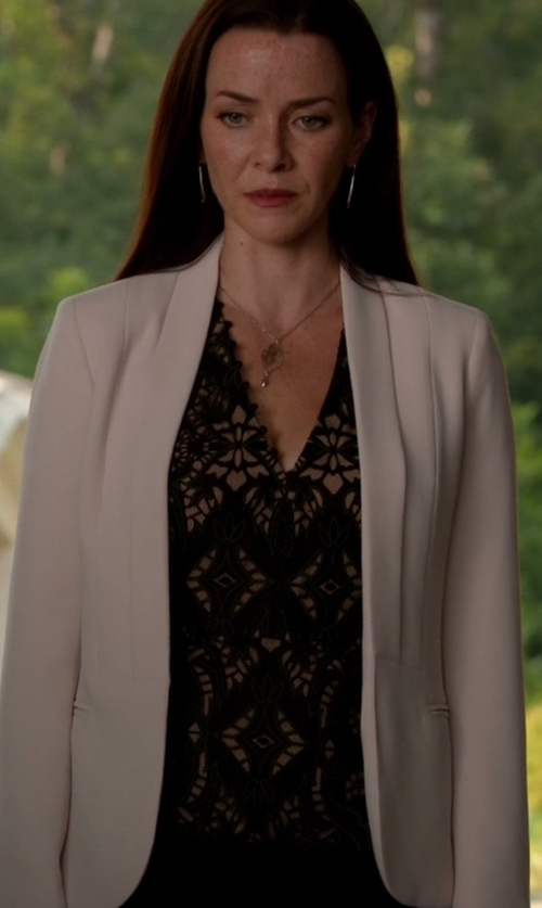 Annie Wersching with BCBGMAXAZRIA Rena Lace Peplum Top in The Vampire Diaries