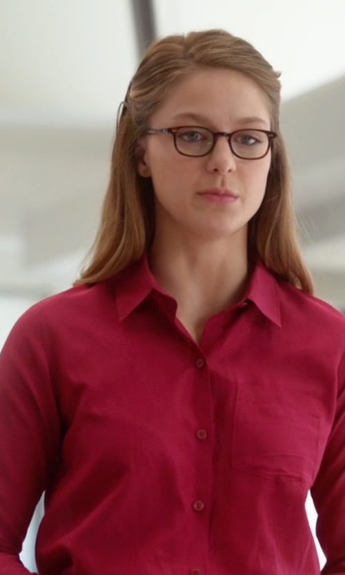 Melissa Benoist with Tommy Hilfiger Solid Button-Down Shirt in Supergirl