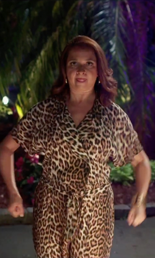 Maya Rudolph with Black Label By Evan-Picone Animal Print Faux-Wrap Dress in Sisters