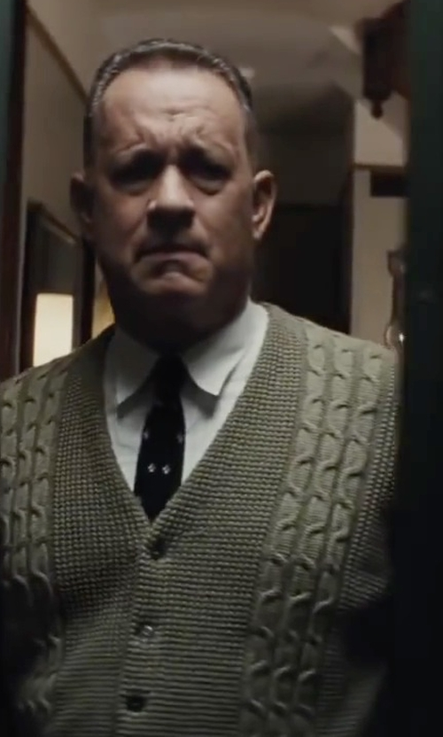 Tom Hanks with Banana Republic Skull Print Silk Tie in Bridge of Spies