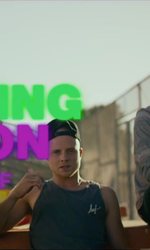Jonny Weston with Huf Streaky Wash Demi Script Tank Top in We Are Your Friends