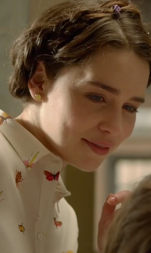 Emilia Clarke with Philosophy Insect Print Roll-Sleeve Shirt in Me Before You