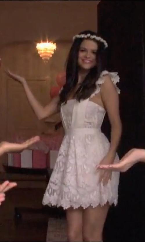 Selena Gomez with Self-Portrait  Ruffled Guipure Lace Mini Dress in Neighbors 2: Sorority Rising