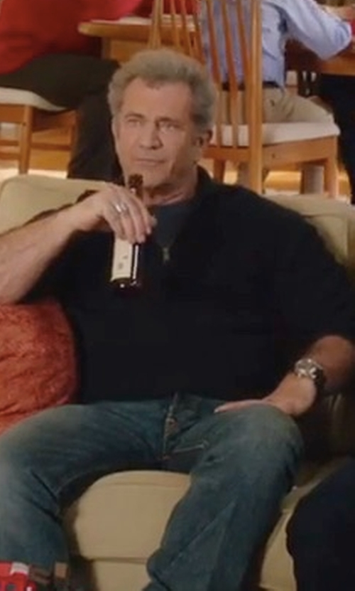 Mel Gibson with Emporio Armani Chronograph Leather Strap Watch in Daddy's Home 2