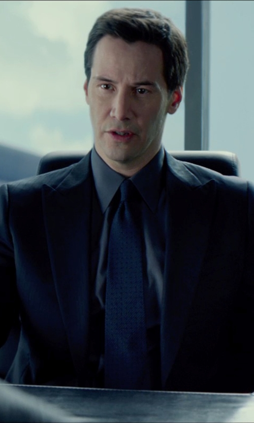 Keanu Reeves with Forzieri Blue Pure Silk Dress Shirt in Man of Tai Chi