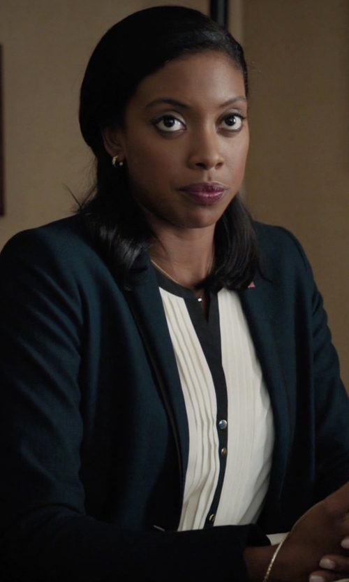 Condola Rashad with Elie Tahari Women's Darcy Wool-Blend Blazer in Billions