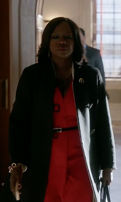Viola Davis with Red Valentino Classic Buttoned Coat in How To Get Away With Murder