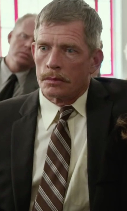 Thomas Haden Church with Black Brown 1826 Striped Silk Tie in Max