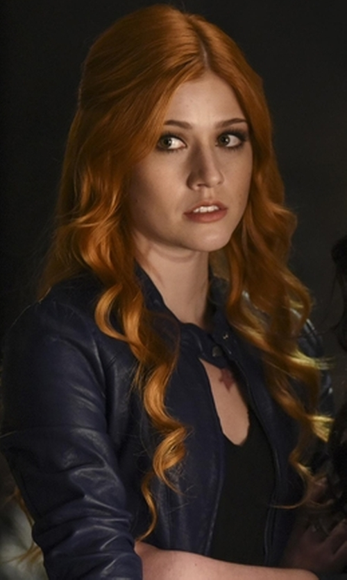 Katherine McNamara with Golden Goose Zip Leather Jacket in Shadowhunters