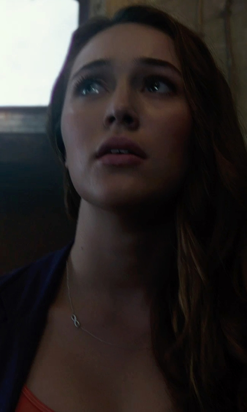 Alycia Debnam Carey with Adina Reyter Super Tiny Pave Infinity Necklace in Into the Storm