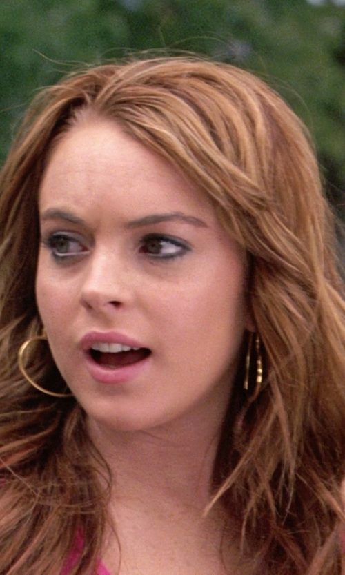 Lindsay Lohan with Argento Vivo Gold-Tone Large Flat Hoop Earrings in Mean Girls