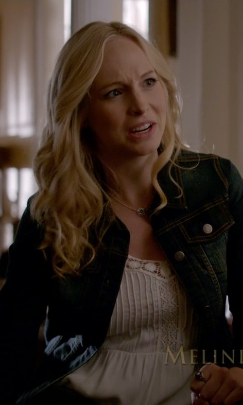 Candice Accola with Kut From The Kloth 'Helena' Denim Jacket in The Vampire Diaries