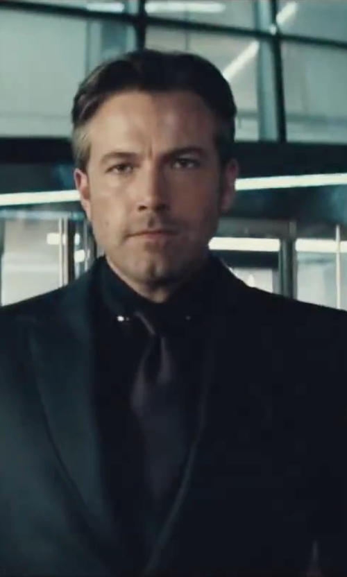 Ben Affleck with Gucci Custom Made Black Oxford Dress Shirt in Batman v Superman: Dawn of Justice