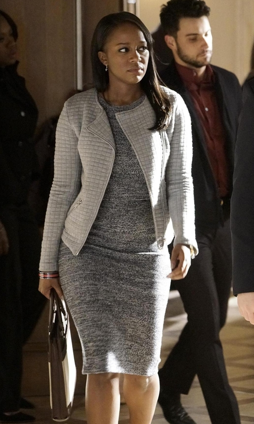 Aja Naomi King with Alice + Olivia Morena Herringbone Long Pencil Skirt in How To Get Away With Murder