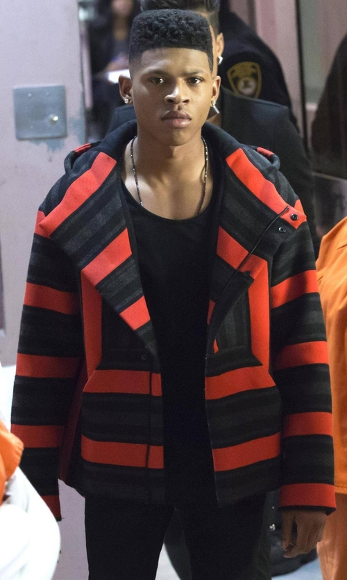 Bryshere Y. Gray with Alexander Wang Baja Striped Hooded Jacket in Empire
