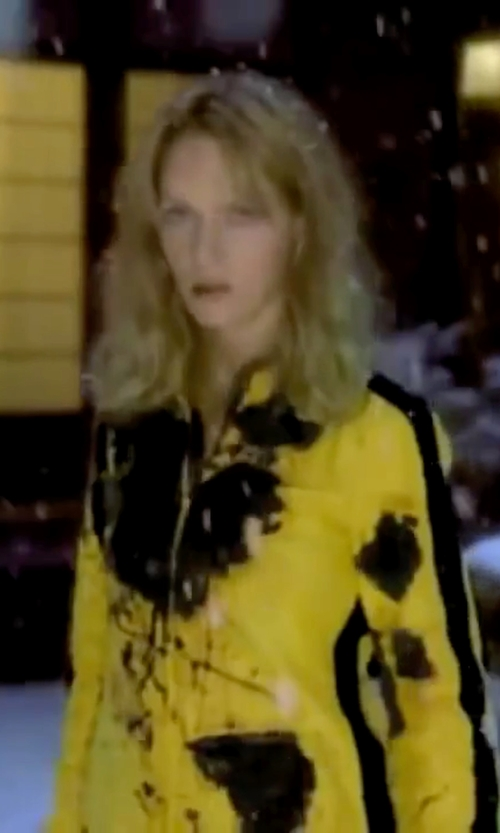 Uma Thurman with Catherine Marie Thomas (Costume Designer) Custom Made Bright Yellow Fight Suit in Kill Bill: Vol. 1