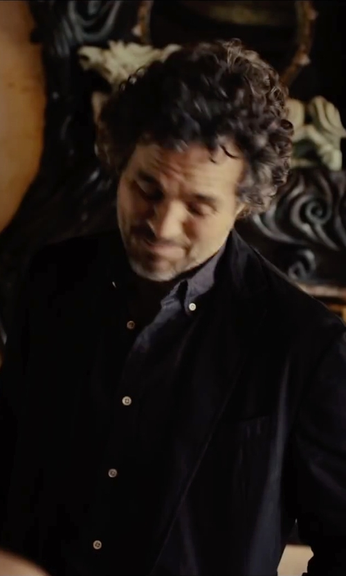 Mark Ruffalo with Boss Hugo Boss Solid Dress Shirt in Begin Again