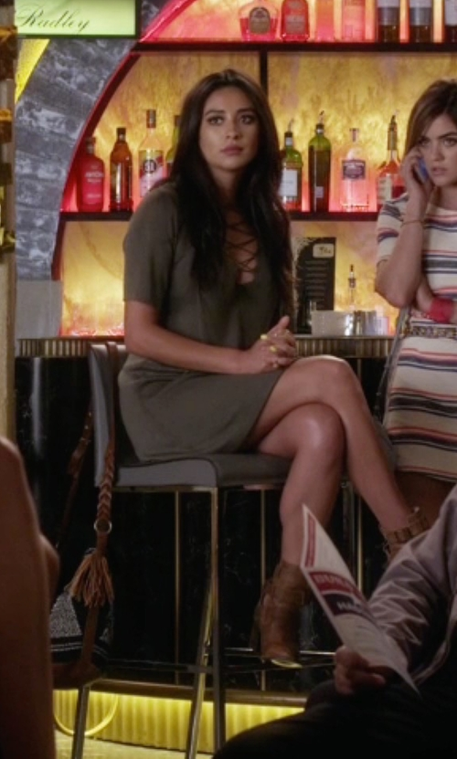 Shay Mitchell with Steve Madden Freebird Rolling Buckle Boots in Pretty Little Liars