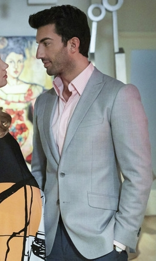 Justin Baldoni with Robert Graham  Striped Cotton Dress Shirt in Jane the Virgin