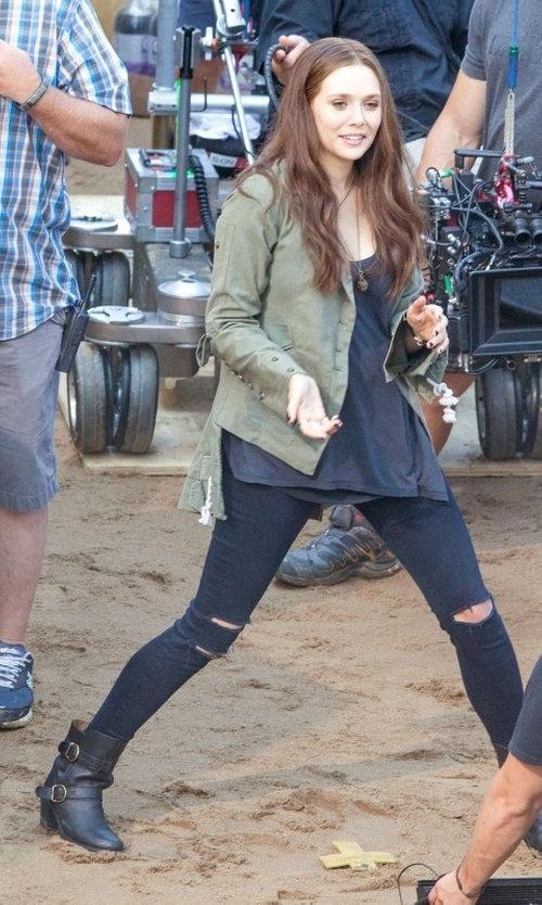 Elizabeth Olsen with Fiorentini +  Baker 'Nena' Boots in Captain America: Civil War