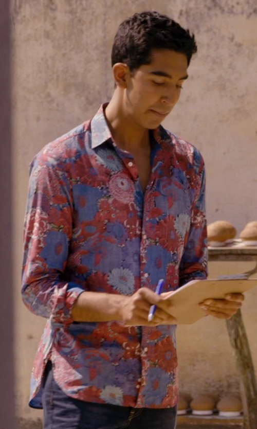 Dev Patel with Macchia J Floral Design Shirts in The Second Best Exotic Marigold Hotel