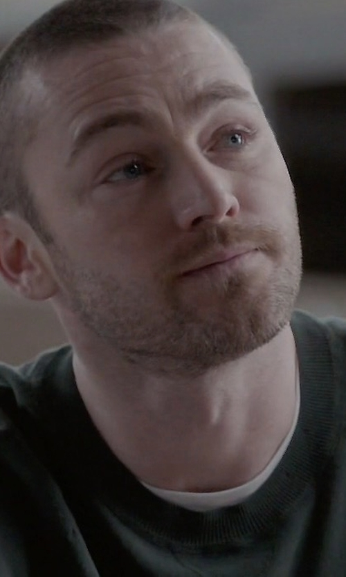 Jake McLaughlin with Polo Ralph Lauren Logo Embroidered Crew Neck Cotton Sweater in Quantico