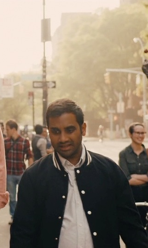 Aziz Ansari with Noah NYC Wool Teddy Varsity Bomber Jacket in Master of None