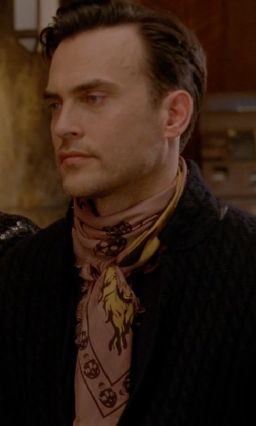Cheyenne Jackson with Drake's Indian Sunrise Print Scarf in American Horror Story