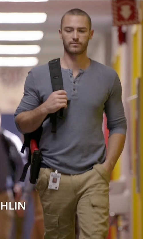 Jake McLaughlin with Billy Reid Sanders Henley Shirt in Quantico