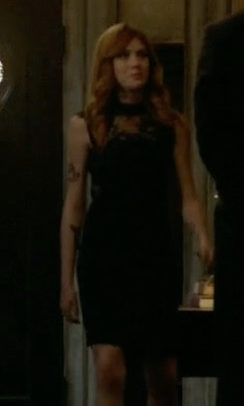 Katherine McNamara with The Kooples Lace Detail Dress in Shadowhunters