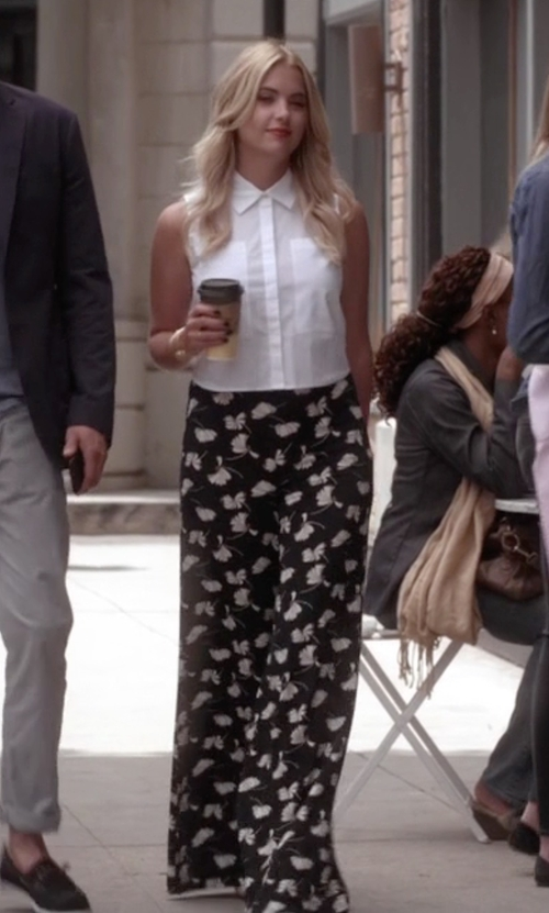 Ashley Benson with Zara Printed Bell Bottom Trouser Pants in Pretty Little Liars