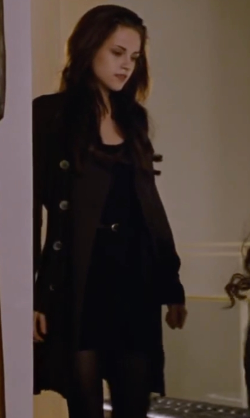 Kristen Stewart with T Tahari Women's Heather Double-Breasted Trench Coat in The Twilight Saga: Breaking Dawn - Part 2