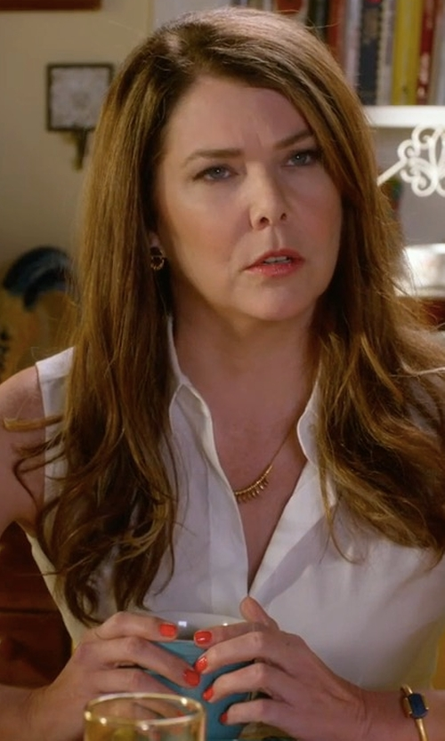 Lauren Graham with Adriana Orsini Cassandra Crystal Pave Fern Necklace in Gilmore Girls: A Year in the Life