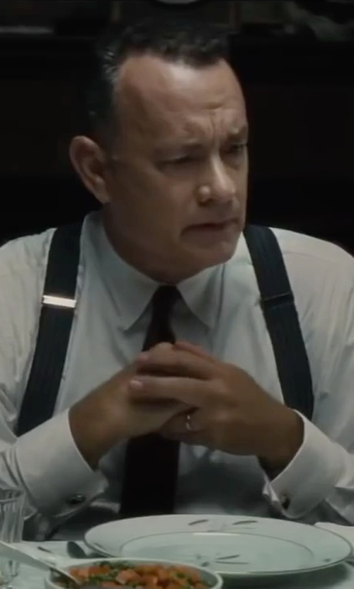 Tom Hanks with Calvin Klein Extra Long Silver Spun Solid Slim Tie in Bridge of Spies