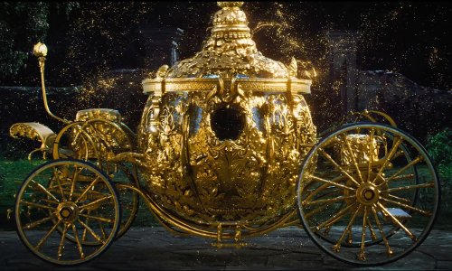 Lily James with Bgi Supplies (Art Department) Custom Made Pumpkin Carriage (Cinderella) in Cinderella