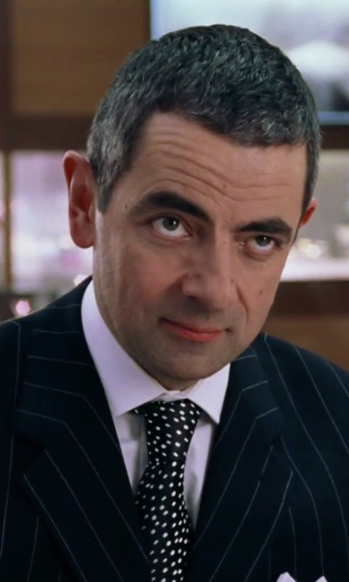 Rowan Atkinson with Eton of Sweden Polka Dot Silk Tie in Love Actually